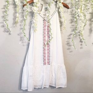 Embroidered Drop-Waisted Peasant Dress